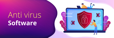 A man before laptop with shield and lock on the screen. Anti virus software, anti-malware, spyware, trojan, adware as internet security concept. Violet palette.Header or Footer banner.