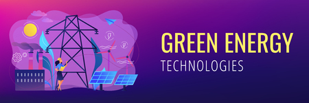 Engineer choosing power station with solar panels and wind turbines. Alternative energy, green energy technologies, eco-friendly energetics concept. Header or footer banner template with copy space.