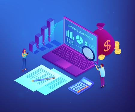 Financial analysts with magnifier and laptop counting income statement. Income statement, company financial statement, balance sheet concept. Ultraviolet neon vector isometric 3D illustration.