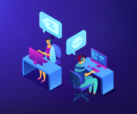 Operators with headsets calling potential customers to support or make a sale. Cold calling, old school marketing, telemarketing sales concept. Ultraviolet neon vector isometric 3D illustration. Illustration