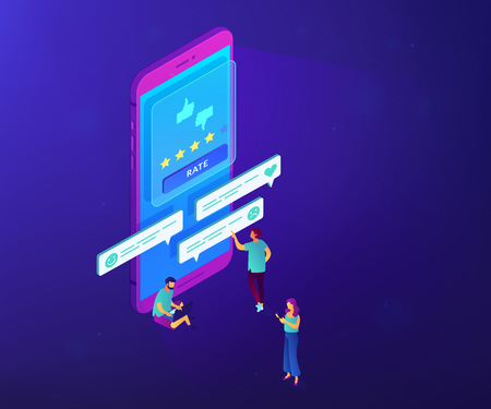 Clients writing and reading feedback on mobile phone. Customer feedback, customer rating feedback, customer relationship management concept. Ultraviolet neon vector isometric 3D illustration. 向量圖像