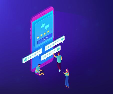 Clients writing and reading feedback on mobile phone. Customer feedback, customer rating feedback, customer relationship management concept. Ultraviolet neon vector isometric 3D illustration. Ilustração