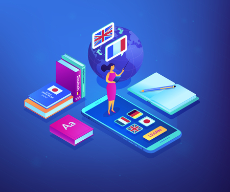 Tutor standing on smartphone and teaching foreign languages. Online language school, recorded digital class, online language tutor concept. Ultraviolet neon vector isometric 3D illustration.