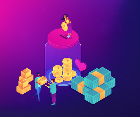 Volunteers donating money into the donation jar and carrying donation boxes with goods. Donation, charity donation funds, gift in kind concept. Ultraviolet neon vector isometric 3D illustration.