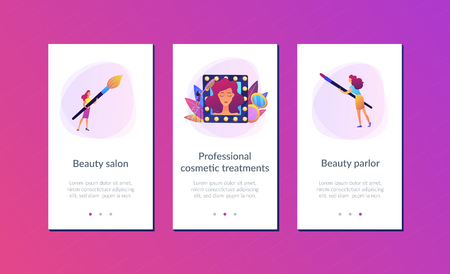 Specialists providing cosmetic treatment for woman face and hair. Beauty salon, beauty parlor, professional cosmetic treatments concept. Mobile UI UX GUI template, app interface wireframe