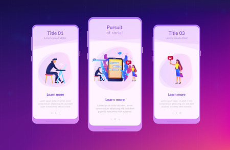 Stalker with laptop controls and intimidates the victim with messages. Cyberstalking, pursuit of social identity, online false accusations concept. Mobile UI UX GUI template, app interface wireframe Çizim