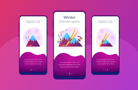 Skier and snowboarder sliding downhill in mountains. Winter extreme sports, downhill cross-country skiing, snowboarding freeride concept. Mobile UI UX GUI template, app interface wireframe