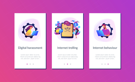Internet troll quarreling and upsetting user online and tablet with troll face. Internet trolling, digital harassment, internet behaviour concept. Mobile UI UX GUI template, app interface wireframe Illustration