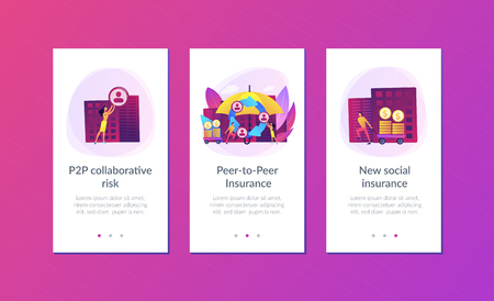 Individuals pool their premiums together to insured against a risk. Peer-to-Peer insurance, P2P collaborative risk, new social insurance concept. Mobile UI UX GUI template, app interface wireframe