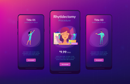 Plastic surgeons working on facelift surgery for woman face with wrinkles. Face lifting, rhytidectomy procedure, facelift surgery concept. Mobile UI UX GUI template, app interface wireframe