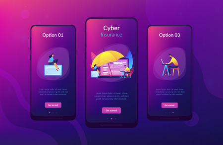 Business people work with laptops protected from internet-based risks. Cyber insurance, cyber-insurance market, cybercrime risk protection concept. Mobile UI UX GUI template, app interface wireframe