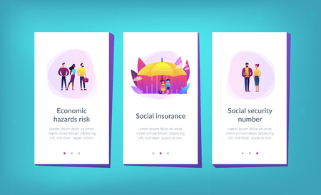 Individuals under umbrella protection against economic hazards. Social insurance, economic hazards risk, social security number concept. Mobile UI UX GUI template, app interface wireframe