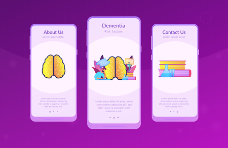 Patient with thought bubble and doctor examining brain. Alzheimer disease and dementia, dotage and memory loss concept on white background. Mobile UI UX GUI template, app interface wireframe