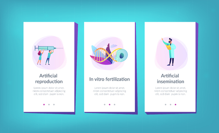 Scientists fertilize huge cell with syringe. Artificial reproduction, in vitro fertilization, artificial propagation concept on white background. Mobile UI UX GUI template, app interface wireframe 向量圖像