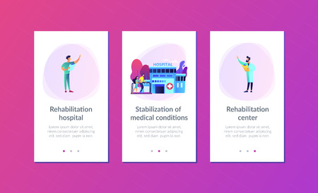 Therapist working with patient at rehabilitation center. Rehabilitation center, rehabilitation hospital, stabilization of medical conditions concept. Mobile UI UX GUI template, app interface wireframe