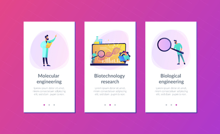 Scientists looking at DNA and charts with magnifier on laptop. Biotechnology, biological systems, bio-engineering concept on white background. Mobile UI UX GUI template, app interface wireframe