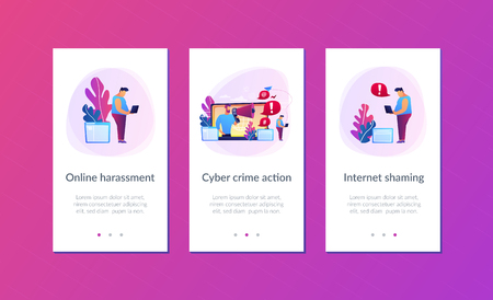 Target individual with laptop attacked online by user with megaphone. Internet shaming, online harassment, cyber crime action concept. Mobile UI UX GUI template, app interface wireframe Stock Vector - 126008426