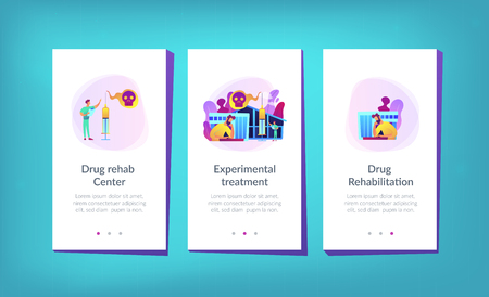 Patient getting medical treatment for dependency on psychoactive substances. Drug rehab center, experimental treatment, drug rehabilitation concept. Mobile UI UX GUI template, app interface wireframe