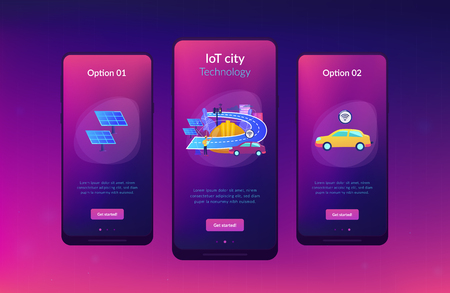 Building engineer and smart road using sensors and solar energy. Smart roads construction, smart highway technology, IoT city technology concept. Mobile UI UX GUI template, app interface wireframe Stock Illustratie