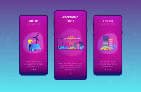 Businessman in green city and electric car using alternative fuel. Alternative fuels, chemically stored electricity, non-fossil sources concept. Mobile UI UX GUI template, app interface wireframe