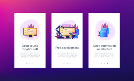 Open automation architecture, open source robotics soft, free development concept. Mobile UI UX GUI template, app interface wireframe