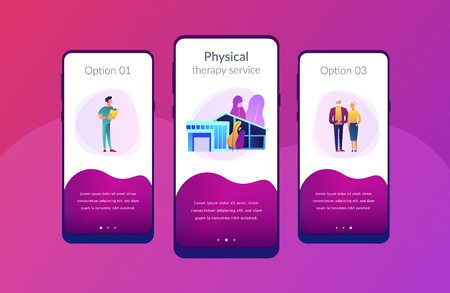 Skilled nurse and elderly people getting around-the-clock nursing care. Nursing home, nursing residential care, physical therapy service concept. Mobile UI UX GUI template, app interface wireframe