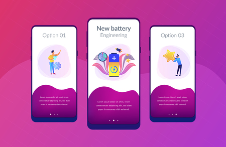 Engineers with battery charging and stars with rocket. Fast charging technology, fast-charge batteries, new battery engineering concept. Mobile UI UX GUI template, app interface wireframe 向量圖像
