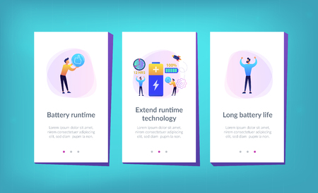 Users and battery performance and longevity with charge indicator and time. Battery runtime, extend runtime technology, long battery life concept. Mobile UI UX GUI template, app interface wireframe
