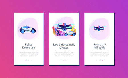 Police car and drone tracking thieve in mask with money and crime scene. Law enforcement drones, police drone use, smart city IoT tools concept. Mobile UI UX GUI template, app interface wireframe