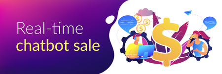 Customer has conversation on smartphone with assistant in real-time. Conversational sales, conversational marketing, real-time chatbot sale concept. Header or footer banner template with copy space.