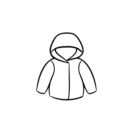Child rain coat hand drawn outline doodle icon. Warm child coat or jacket for stormy weather vector sketch illustration for print, web, mobile and infographics isolated on white background. Stock Illustratie