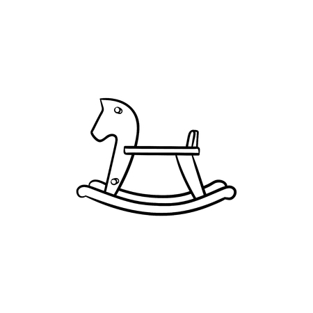 Rocking toy horse hand drawn outline doodle icon. Horse swing for babies to rock and ride vector sketch illustration for print, web, mobile and infographics isolated on white background. Illustration