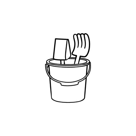 Beach toys hand drawn outline doodle icon. Toy shovel and rake in a bucket for playing in a sandbox vector sketch illustration for print, web, mobile and infographics isolated on white background.