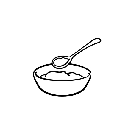 Baby bowl and spoon hand drawn outline doodle icon. A bowl with food and spoon as baby feed up concept vector sketch illustration for print, web, mobile and infographics isolated on white background.