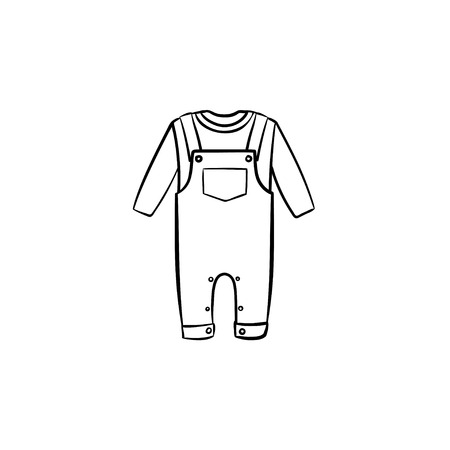 Baby overall shirt and pants hand drawn outline doodle icon. Baby clothing set of shirt and pants vector sketch illustration for print, web, mobile and infographics isolated on white background.