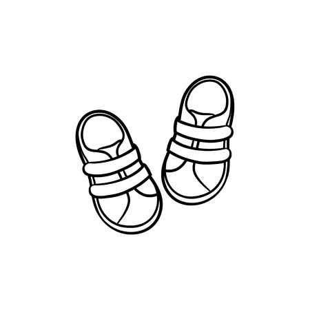 Baby shoes hand drawn outline doodle icon. Footware baby boots for newborn kids vector sketch illustration for print, web, mobile and infographics isolated on white background.