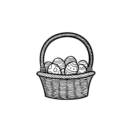 Vine Easter basket with coloured eggs hand drawn outline doodle icon. Easter holidays concept vector sketch illustration for print, web, mobile and infographics isolated on white background.