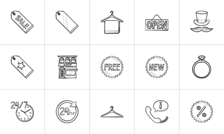 Shopping and retail hand drawn outline doodle icon set. Outline doodle icon set for print, web, mobile and infographics. Shop and sale vector sketch illustration set isolated on white background.