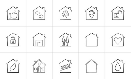 Houses hand drawn outline doodle icon set. Outline doodle icon set for print, web, mobile and infographics. Real estate, mortgage, home vector sketch illustration set isolated on white background.