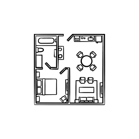 Square floor plan with furniture hand drawn outline doodle icon. Architecture, layout, apartment concept. Vector sketch illustration for print, web, mobile and infographics on white background.