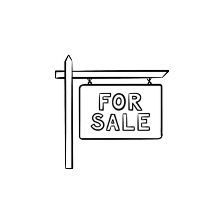 Basic for sale sign hand drawn outline doodle icon. Real estate, advertising, selling house, purchase concept. Vector sketch illustration for print, web, mobile and infographics on white background.