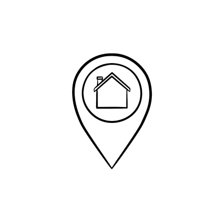 Location pin with house inside hand drawn outline doodle icon. Real estate, navigation, find place concept. Vector sketch illustration for print, web, mobile and infographics on white background.