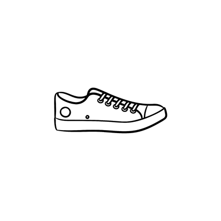 Sneaker hand drawn outline doodle icon. Kids and teenagers casual footwear, style walking shoes concept. Vector sketch illustration for print, web, mobile and infographics on white background.