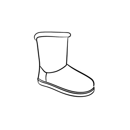 Winter soft boot hand drawn outline doodle icon. Shoe fashion, winter warm footwear shopping concept. Vector sketch illustration for print, web, mobile and infographics on white background.