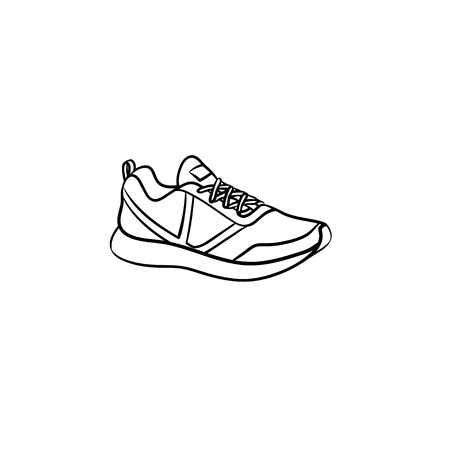 Sneaker, running shoe hand drawn outline doodle icon. Sport, style, fashion, footwear, fitness, gym concept. Vector sketch illustration for print, web, mobile and infographics on white background.
