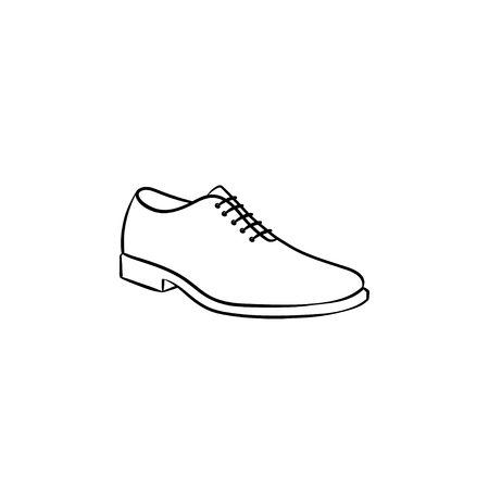 Comfortable male shoe hand drawn outline doodle icon. Men style, fashion, footwear shop, gentleman concept. Vector sketch illustration for print, web, mobile and infographics on white background. Иллюстрация