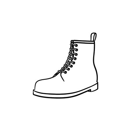 Hiking boot hand drawn outline doodle icon. Military style, fashion, sport trecking shoes, hillwalking concept. Vector sketch illustration for print, web, mobile and infographics on white background.