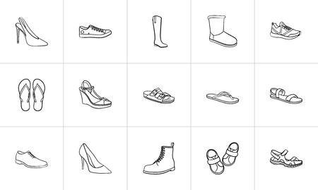 Footwear hand drawn outline doodle icon set. Outline doodle icon set for print, web, mobile and infographics. Fashion, style, shoe shop vector sketch illustration set isolated on white background.