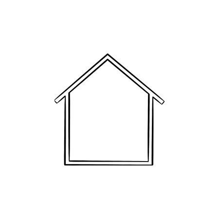 House hand drawn outline doodle icon. Real estate, mortgage, property, modern building, moving in concept. Vector sketch illustration for print, web, mobile and infographics on white background.