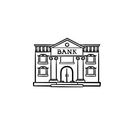 Bank hand drawn outline doodle icon. Real estate, advertising, money and savings, city architecture concept. Vector sketch illustration for print, web, mobile and infographics on white background. Imagens - 126008588
